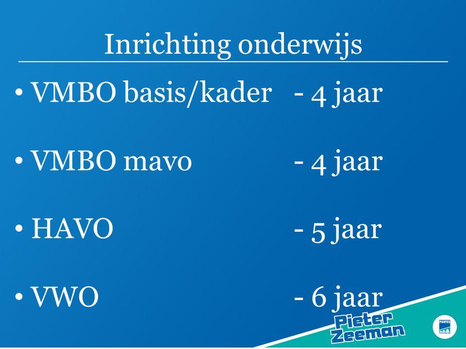 Inrichting onderwijs VMBO basis/kader- 4 jaar VMBO mavo - 4 jaar HAVO - 5 jaar VWO - 6 jaar