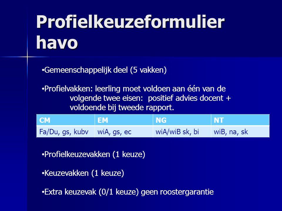 Profielkeuzeformulier havo CMEMNGNT Fa/Du, gs, kubvwiA, gs, ecwiA/wiB sk, biwiB, na, sk Gemeenschappelijk deel (5 vakken) Profielvakken: leerling moet