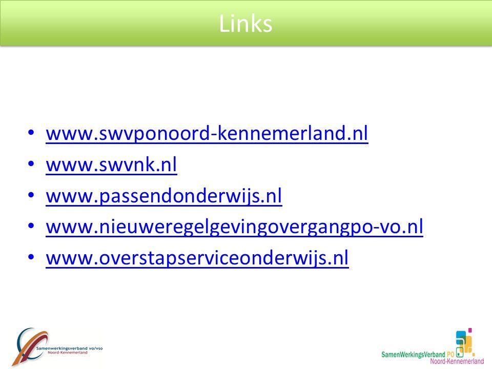 www.swvponoord-kennemerland.nl www.swvnk.nl www.passendonderwijs.nl www.nieuweregelgevingovergangpo-vo.nl www.overstapserviceonderwijs.nl Links