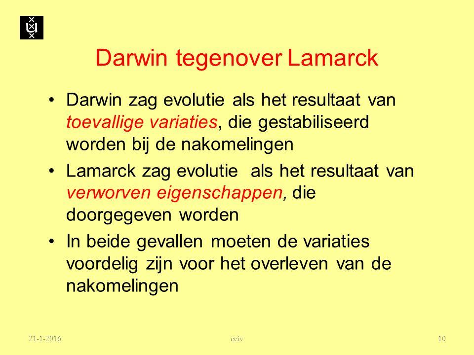 Darwin tegenover Lamarck Darwin zag evolutie als het resultaat van toevallige variaties, die gestabiliseerd worden bij de nakomelingen Lamarck zag evo