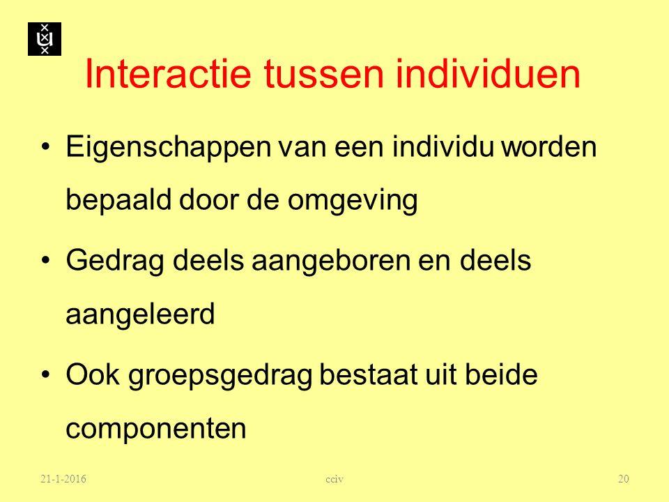 21-1-2016 Interactie tussen individuen Eigenschappen van een individu worden bepaald door de omgeving Gedrag deels aangeboren en deels aangeleerd Ook
