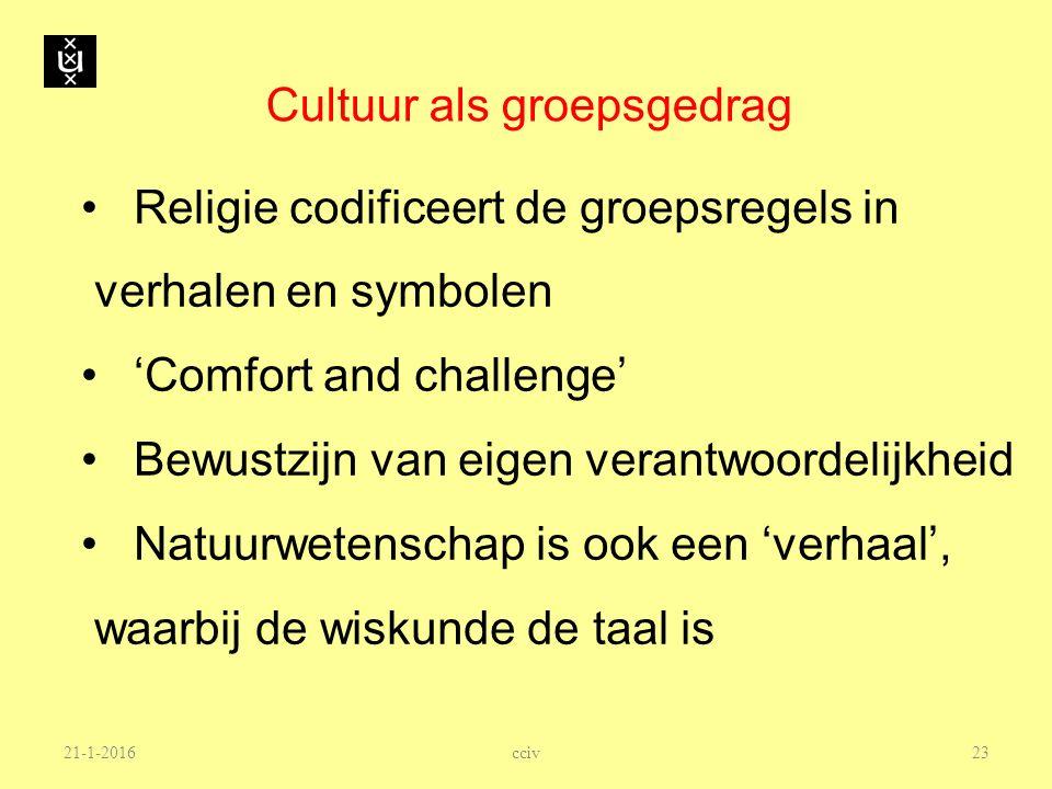 Cultuur als groepsgedrag Religie codificeert de groepsregels in verhalen en symbolen 'Comfort and challenge' Bewustzijn van eigen verantwoordelijkheid