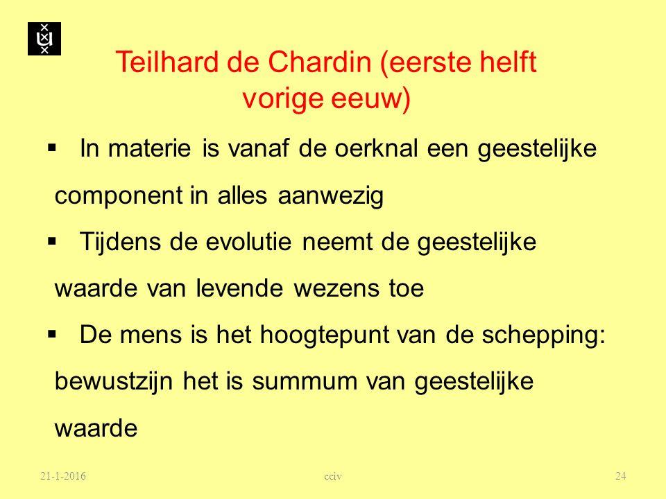Teilhard de Chardin (eerste helft vorige eeuw)  In materie is vanaf de oerknal een geestelijke component in alles aanwezig  Tijdens de evolutie neem