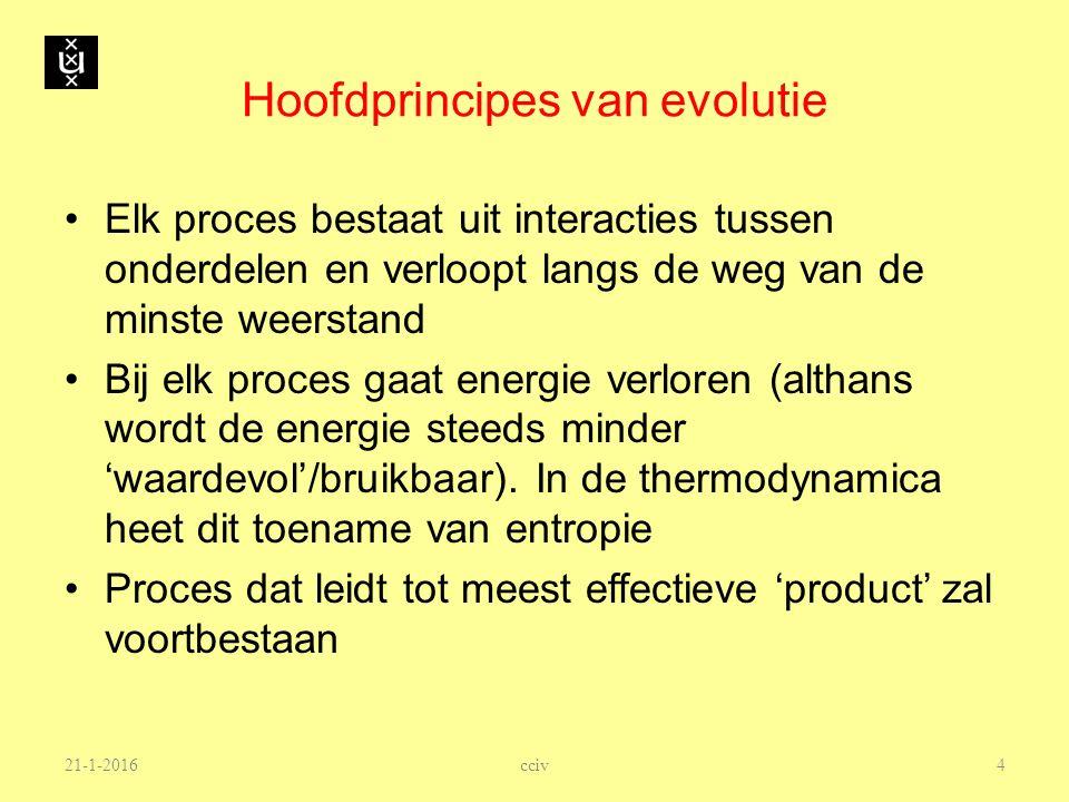21-1-2016 Hoofdprincipes van evolutie Elk proces bestaat uit interacties tussen onderdelen en verloopt langs de weg van de minste weerstand Bij elk pr