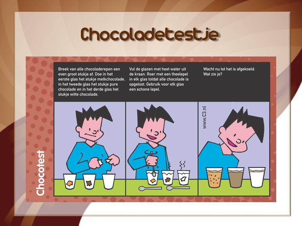 Weetjes Cacaoboter zit ook in lippenbalsem Een cacaoboom kan meer dan 50 jaar oud worden Een hele cacaoboom is nodig voor 20 repen chocolade Chocolade