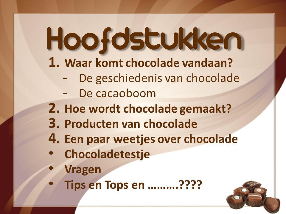 Hoofdstukken 1.Waar komt chocolade vandaan. ‐ De geschiedenis van chocolade ‐ De cacaoboom 2.