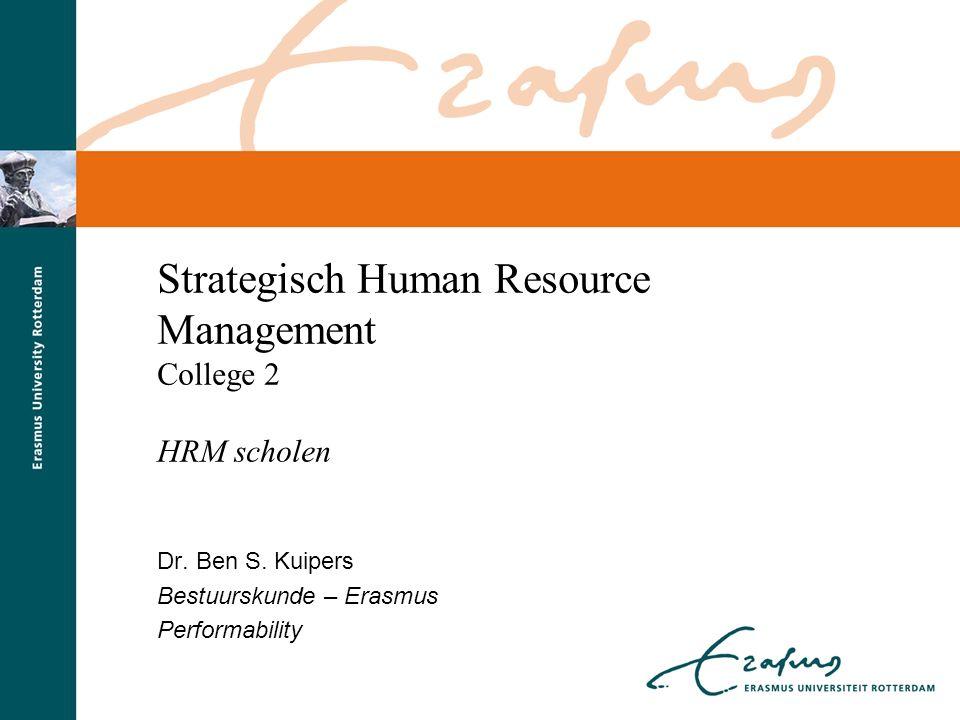 © Ben Kuipers kuipers@fsw.eur.nl12kuipers@fsw.eur.nl Michigan-model: ' High Performance ' Fonbrum et al (1984) Strategic HRM Reward Performance Appraisal Selection/ recruitment Career development &-planning
