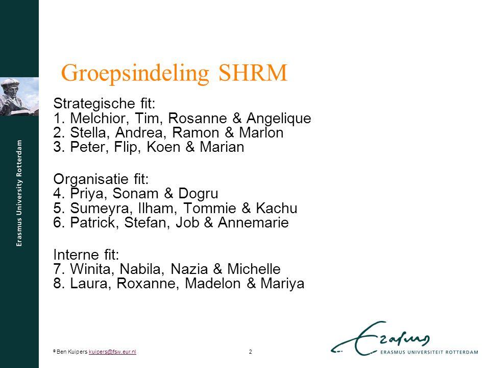 © Ben Kuipers kuipers@fsw.eur.nl3kuipers@fsw.eur.nl Huiswerk  Maak de verbinding tussen het SHP-model en het rollen-model van Ulrich.