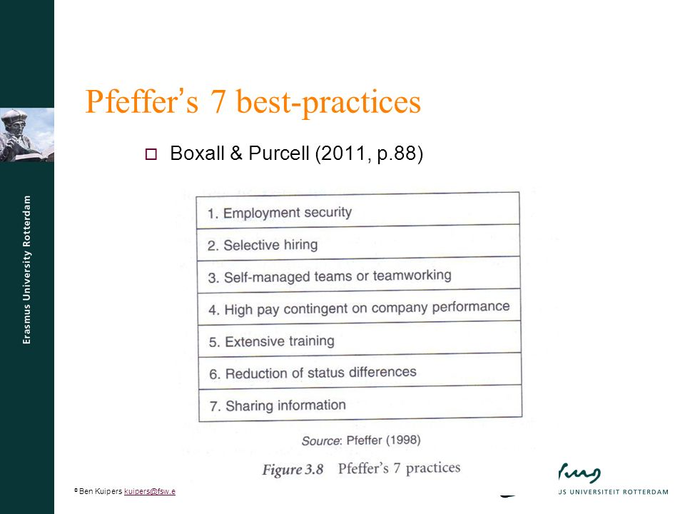 © Ben Kuipers kuipers@fsw.eur.nl8kuipers@fsw.eur.nl 8 Pfeffer ' s 7 best-practices  Boxall & Purcell (2011, p.88)