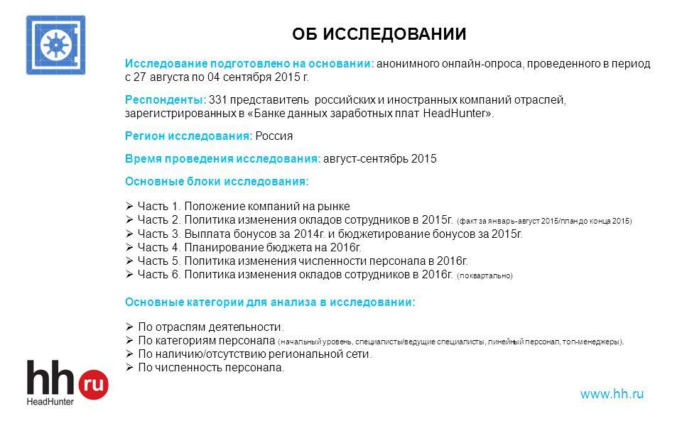 ОБ ИССЛЕДОВАНИИ Исследование подготовлено на основании: анонимного онлайн-опроса, проведенного в период с 27 августа по 04 сентября 2015 г. Респондент