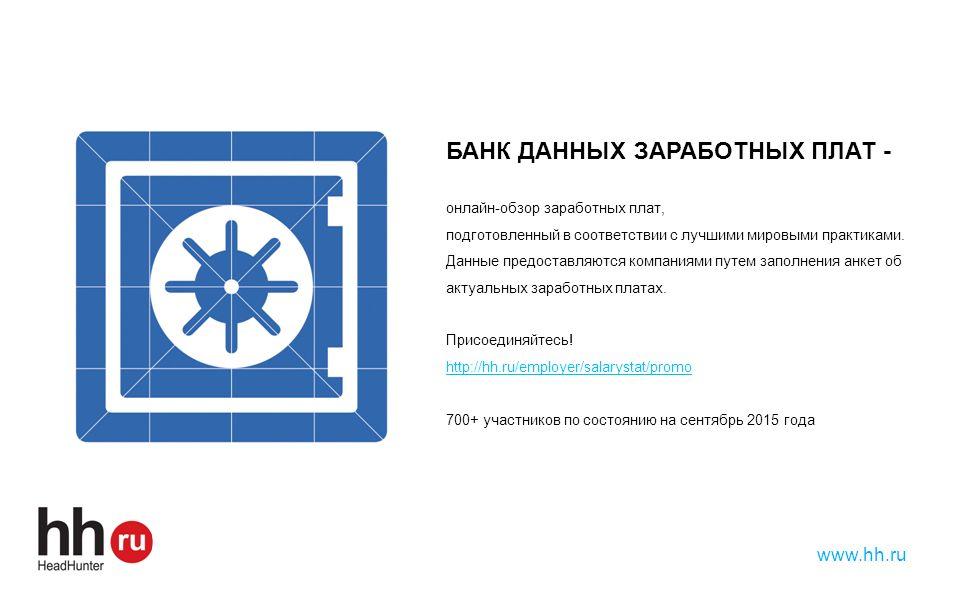 КОНТАКТЫ Наталья Данина, Руководитель направления исследований заработных плат n.danina@hh.ru Тел: +7 495 974 64 27 доб.