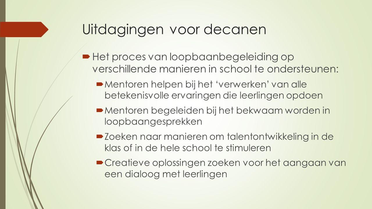 Uitdagingen voor decanen  Het proces van loopbaanbegeleiding op verschillende manieren in school te ondersteunen:  Mentoren helpen bij het 'verwerke