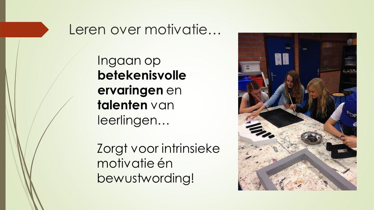 Ingaan op betekenisvolle ervaringen en talenten van leerlingen… Leren over motivatie… Zorgt voor intrinsieke motivatie én bewustwording!