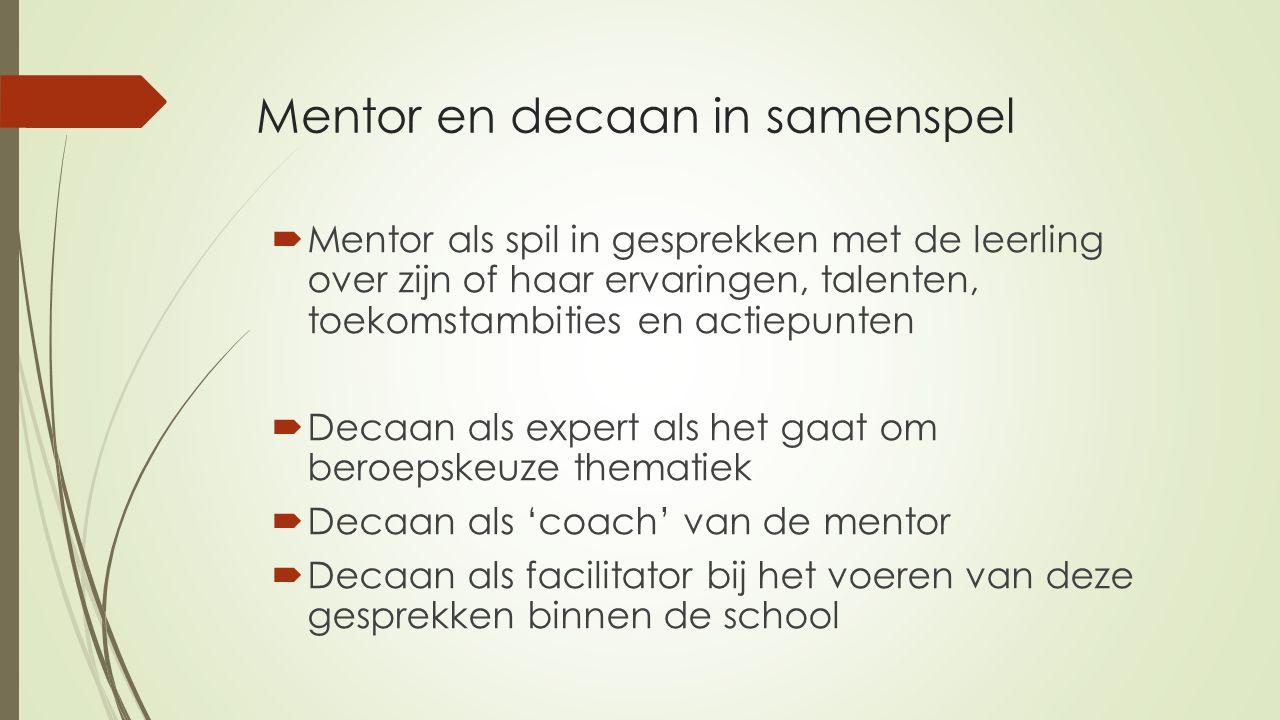 Mentor en decaan in samenspel  Mentor als spil in gesprekken met de leerling over zijn of haar ervaringen, talenten, toekomstambities en actiepunten