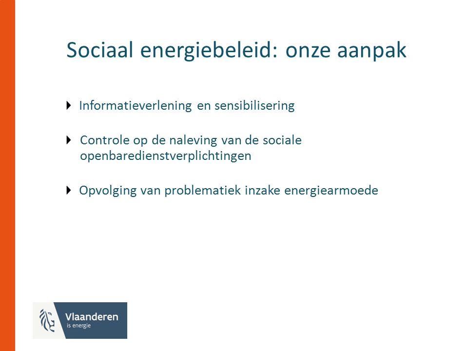 Sociaal energiebeleid: onze aanpak Informatieverlening en sensibilisering Controle op de naleving van de sociale openbaredienstverplichtingen Opvolging van problematiek inzake energiearmoede