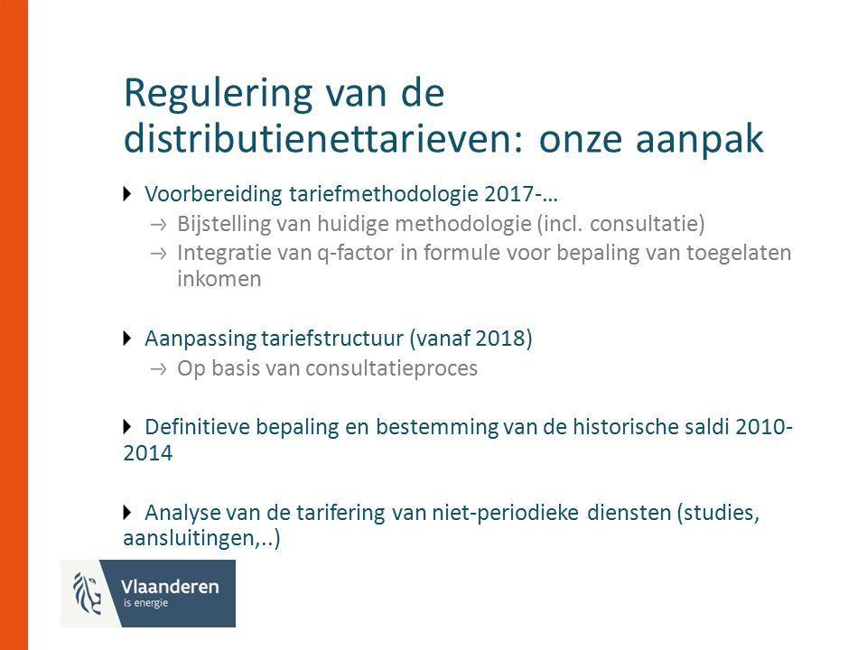 Regulering van de distributienettarieven: onze aanpak Voorbereiding tariefmethodologie 2017-… Bijstelling van huidige methodologie (incl.