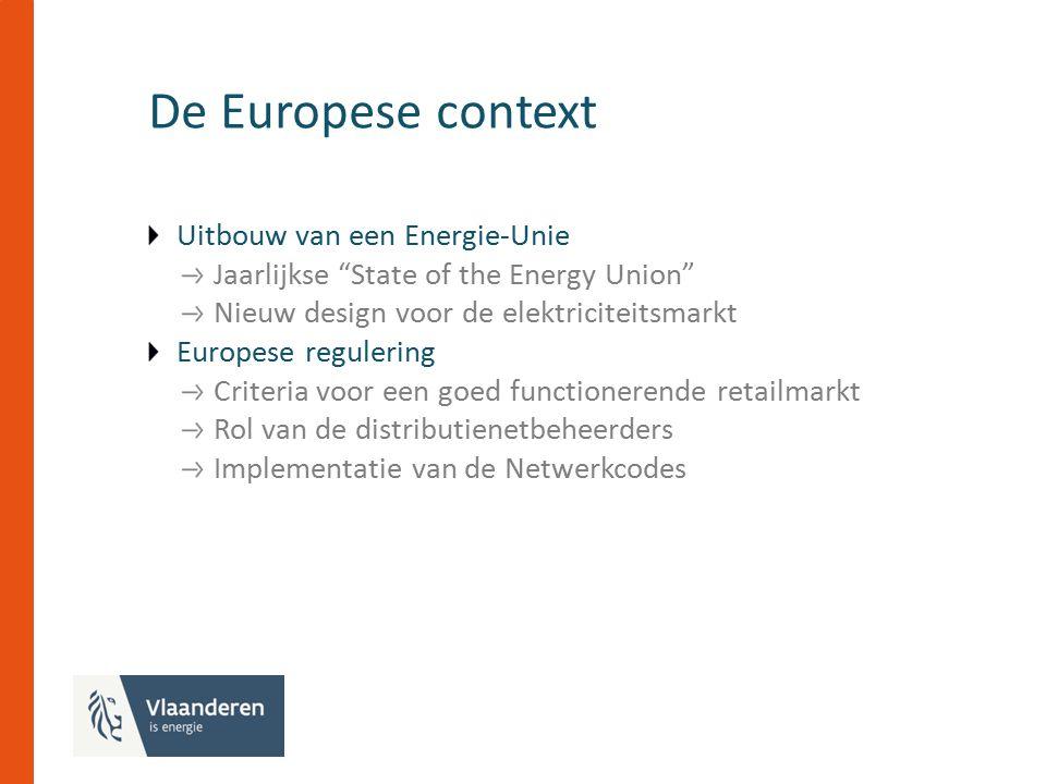 De Europese context Uitbouw van een Energie-Unie Jaarlijkse State of the Energy Union Nieuw design voor de elektriciteitsmarkt Europese regulering Criteria voor een goed functionerende retailmarkt Rol van de distributienetbeheerders Implementatie van de Netwerkcodes