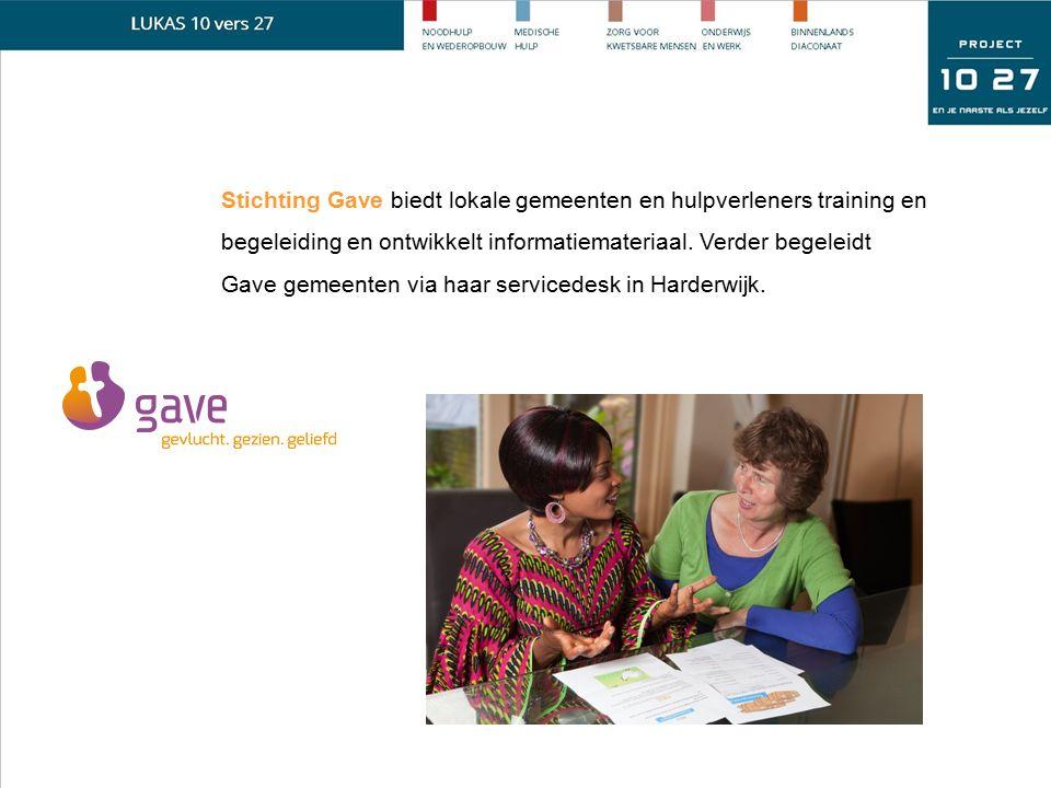 Stichting Gave biedt lokale gemeenten en hulpverleners training en begeleiding en ontwikkelt informatiemateriaal. Verder begeleidt Gave gemeenten via