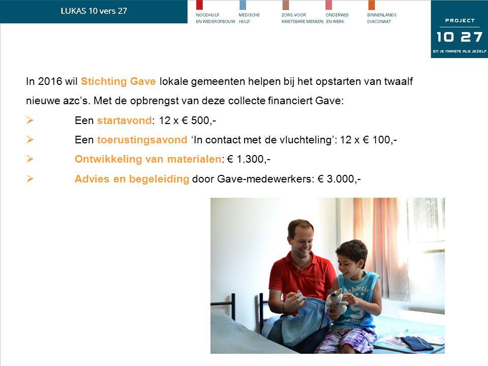 In 2016 wil Stichting Gave lokale gemeenten helpen bij het opstarten van twaalf nieuwe azc's. Met de opbrengst van deze collecte financiert Gave:  Ee