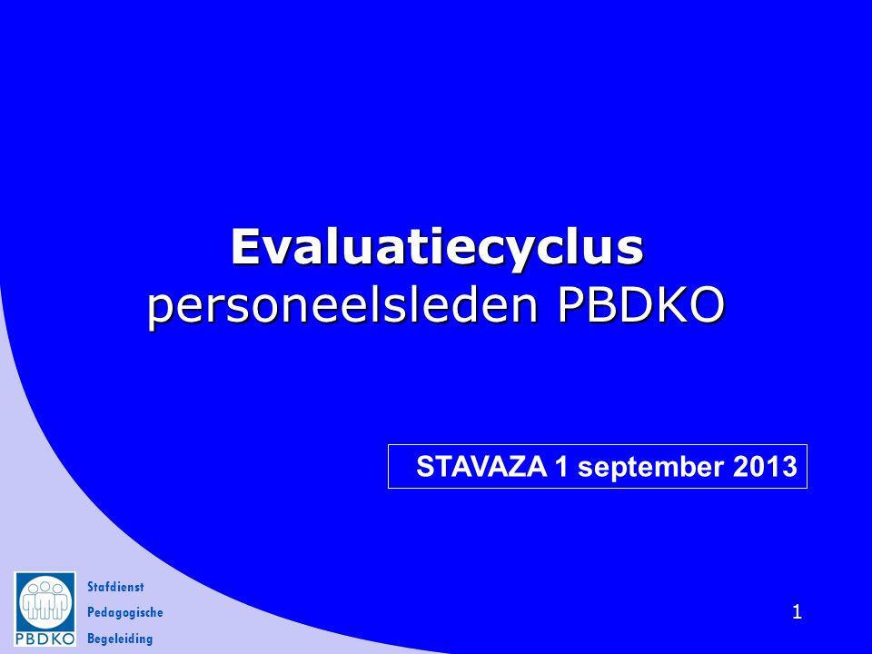 Stafdienst Pedagogische Begeleiding 12  Evaluatie dient gezien te worden als een positief beleids- instrument.