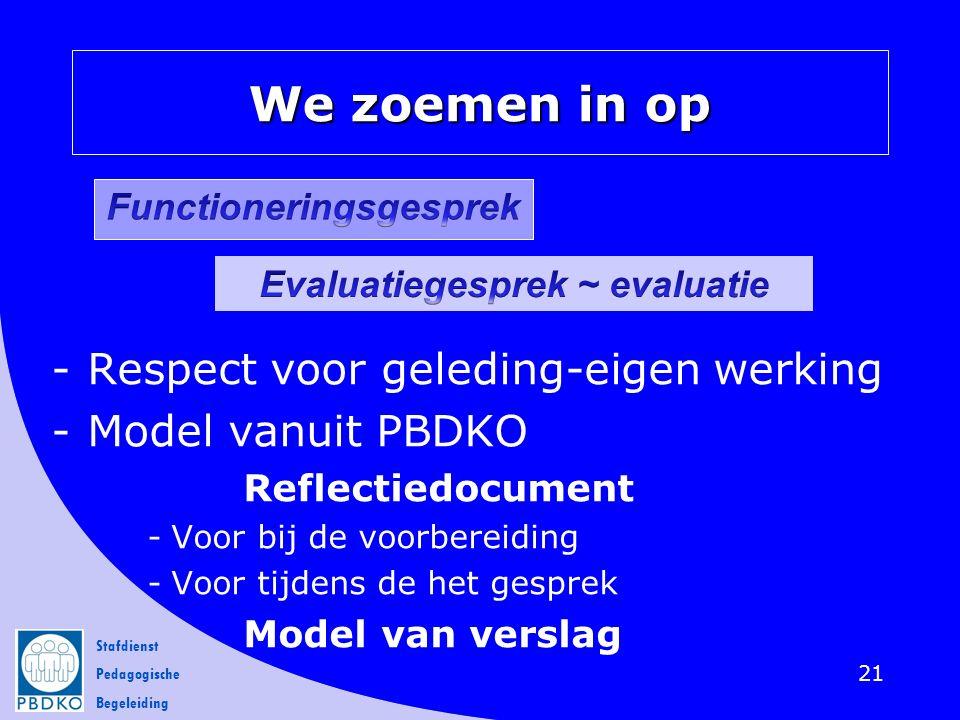 Stafdienst Pedagogische Begeleiding We zoemen in op -Respect voor geleding-eigen werking -Model vanuit PBDKO Reflectiedocument -Voor bij de voorbereid