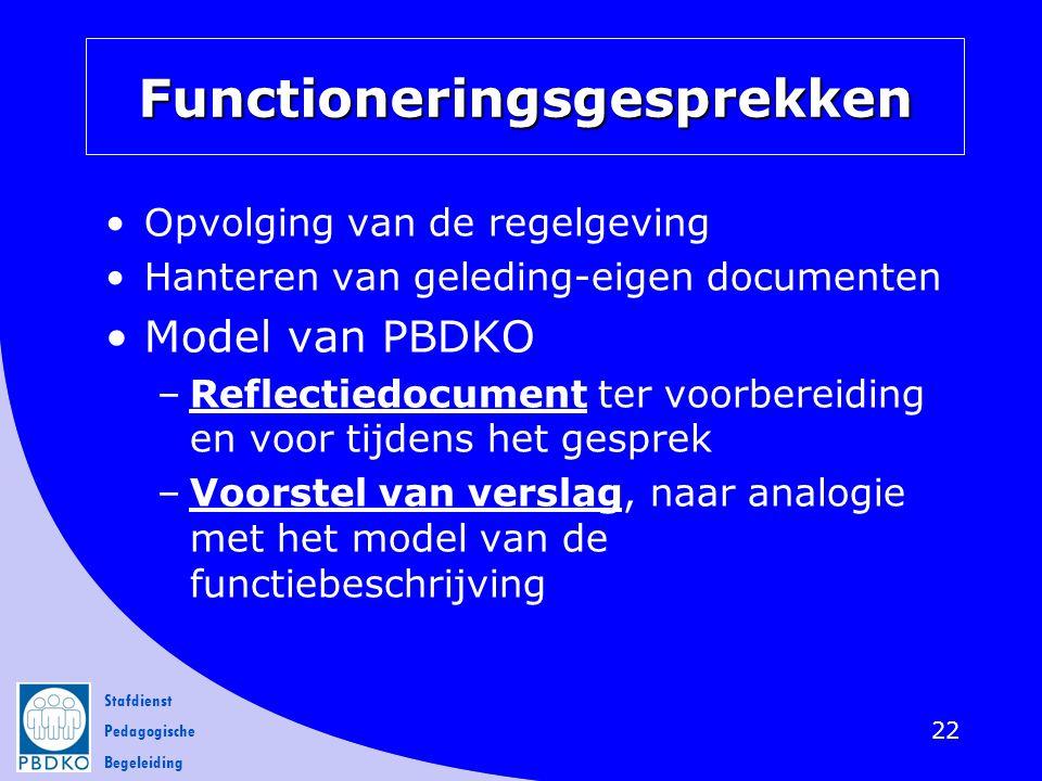 Stafdienst Pedagogische Begeleiding Functioneringsgesprekken Opvolging van de regelgeving Hanteren van geleding-eigen documenten Model van PBDKO –Refl