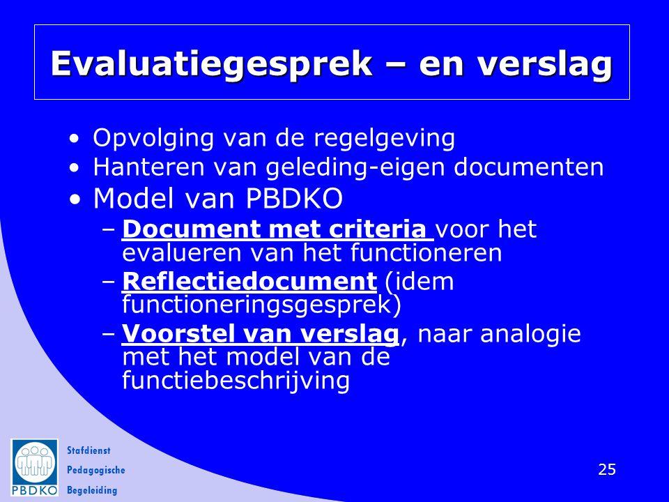Stafdienst Pedagogische Begeleiding Evaluatiegesprek – en verslag Opvolging van de regelgeving Hanteren van geleding-eigen documenten Model van PBDKO