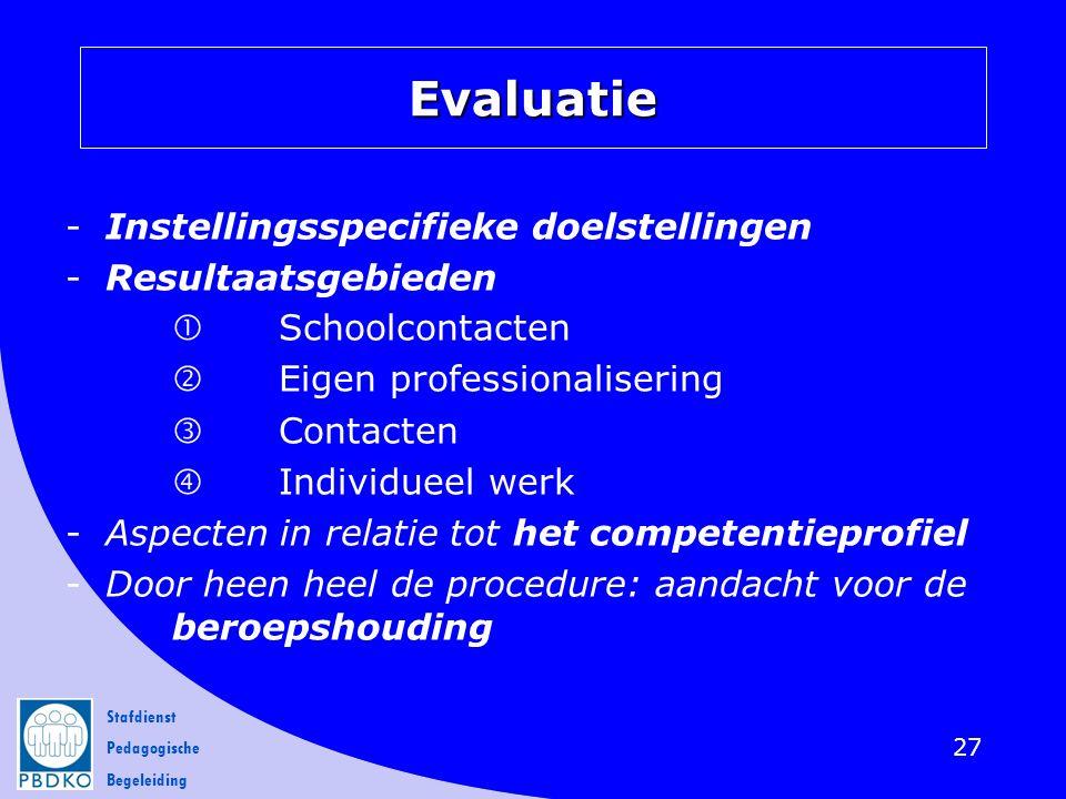 Stafdienst Pedagogische Begeleiding -Instellingsspecifieke doelstellingen -Resultaatsgebieden  Schoolcontacten  Eigen professionalisering  Contacte