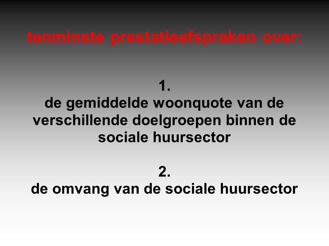 tenminste prestatieafspraken over: 1. de gemiddelde woonquote van de verschillende doelgroepen binnen de sociale huursector 2. de omvang van de social