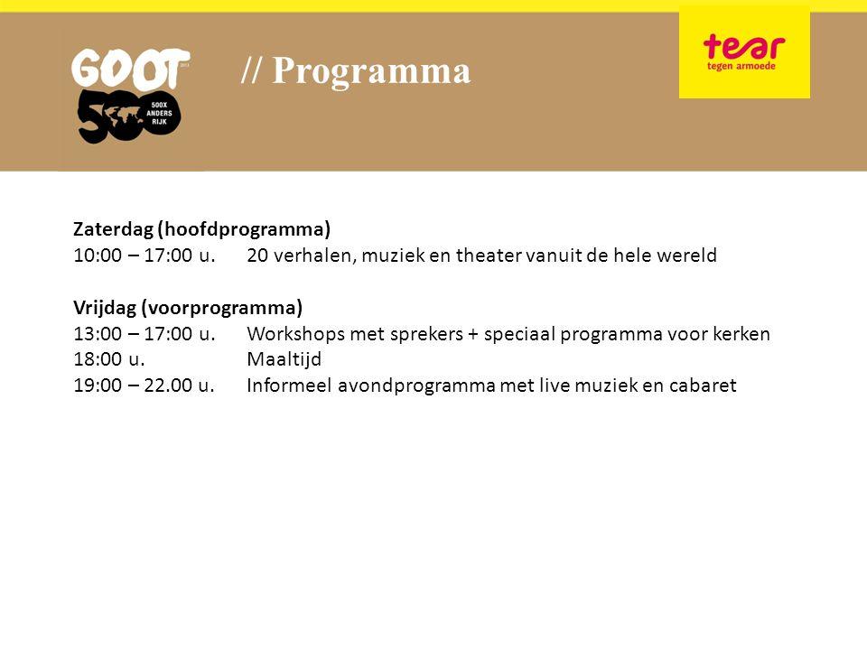 // Programma Zaterdag (hoofdprogramma) 10:00 – 17:00 u.