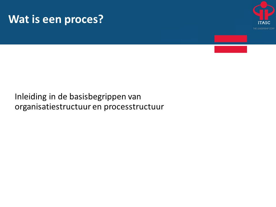 Wat is een proces? Inleiding in de basisbegrippen van organisatiestructuur en processtructuur