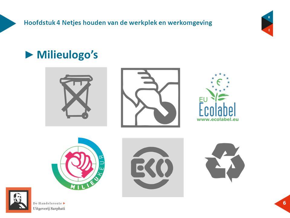 Hoofdstuk 4 Netjes houden van de werkplek en werkomgeving 6 ► Milieulogo's
