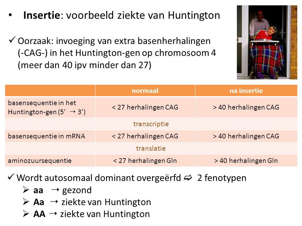 Insertie: voorbeeld ziekte van Huntington Oorzaak: invoeging van extra basenherhalingen (-CAG-) in het Huntington-gen op chromosoom 4 (meer dan 40 ipv