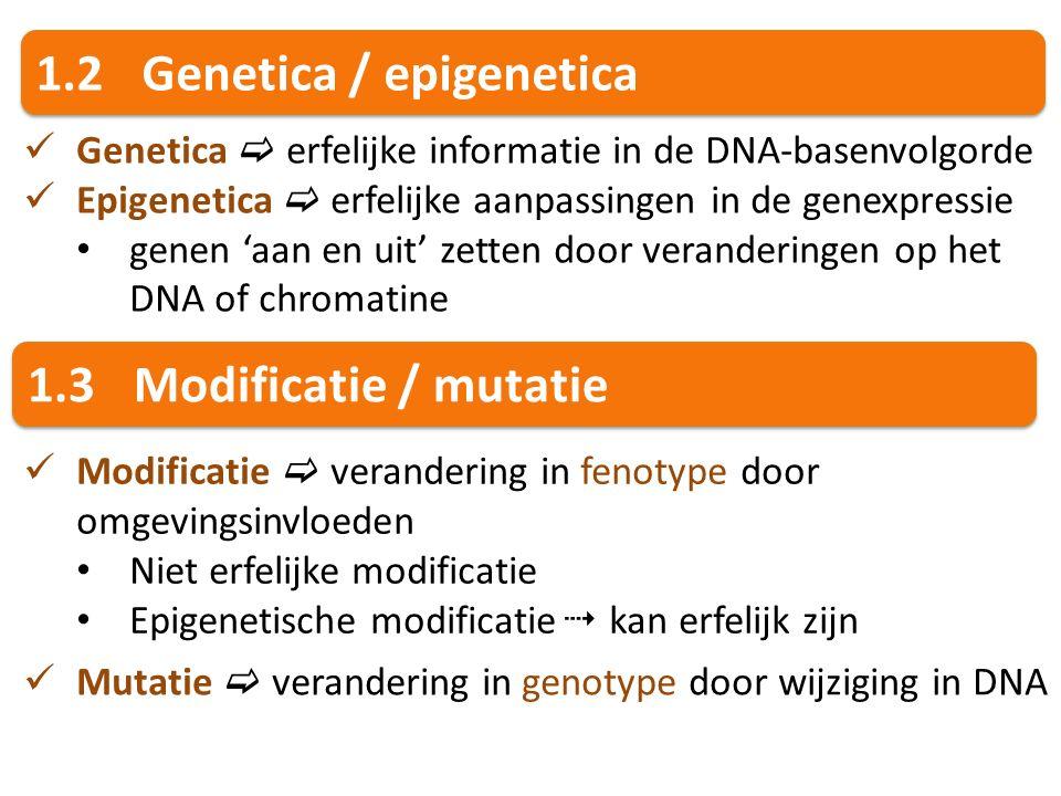 1.2Genetica / epigenetica Genetica  erfelijke informatie in de DNA-basenvolgorde Epigenetica  erfelijke aanpassingen in de genexpressie genen 'aan e
