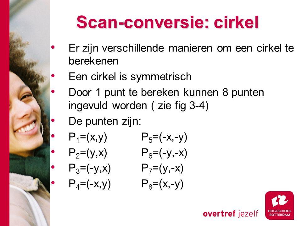 Scan-conversie: cirkel Er zijn verschillende manieren om een cirkel te berekenen Een cirkel is symmetrisch Door 1 punt te bereken kunnen 8 punten ingevuld worden ( zie fig 3-4) De punten zijn: P 1 =(x,y)P 5 =(-x,-y) P 2 =(y,x)P 6 =(-y,-x) P 3 =(-y,x)P 7 =(y,-x) P 4 =(-x,y)P 8 =(x,-y)