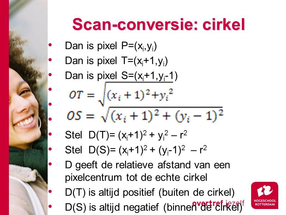 Dan is pixel P=(x i,y i ) Dan is pixel T=(x i +1,y i ) Dan is pixel S=(x i +1,y i -1) Stel D(T)= (x i +1) 2 + y i 2 – r 2 Stel D(S)= (x i +1) 2 + (y i -1) 2 – r 2 D geeft de relatieve afstand van een pixelcentrum tot de echte cirkel D(T) is altijd positief (buiten de cirkel) D(S) is altijd negatief (binnen de cirkel)