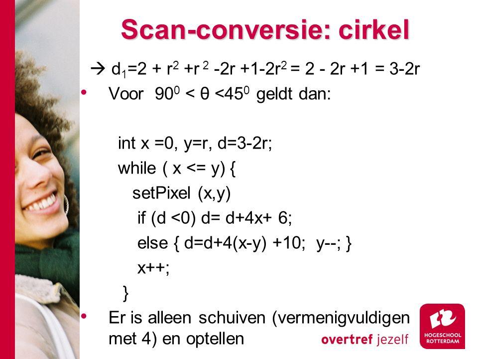 Scan-conversie: cirkel  d 1 =2 + r 2 +r 2 -2r +1-2r 2 = 2 - 2r +1 = 3-2r Voor 90 0 < θ <45 0 geldt dan: int x =0, y=r, d=3-2r; while ( x <= y) { setPixel (x,y) if (d <0) d= d+4x+ 6; else { d=d+4(x-y) +10; y--; } x++; } Er is alleen schuiven (vermenigvuldigen met 4) en optellen
