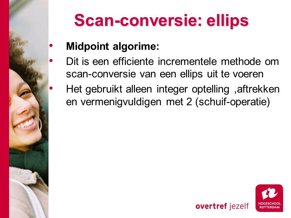 Scan-conversie: ellips Midpoint algorime: Dit is een efficiente incrementele methode om scan-conversie van een ellips uit te voeren Het gebruikt alleen integer optelling,aftrekken en vermenigvuldigen met 2 (schuif-operatie)