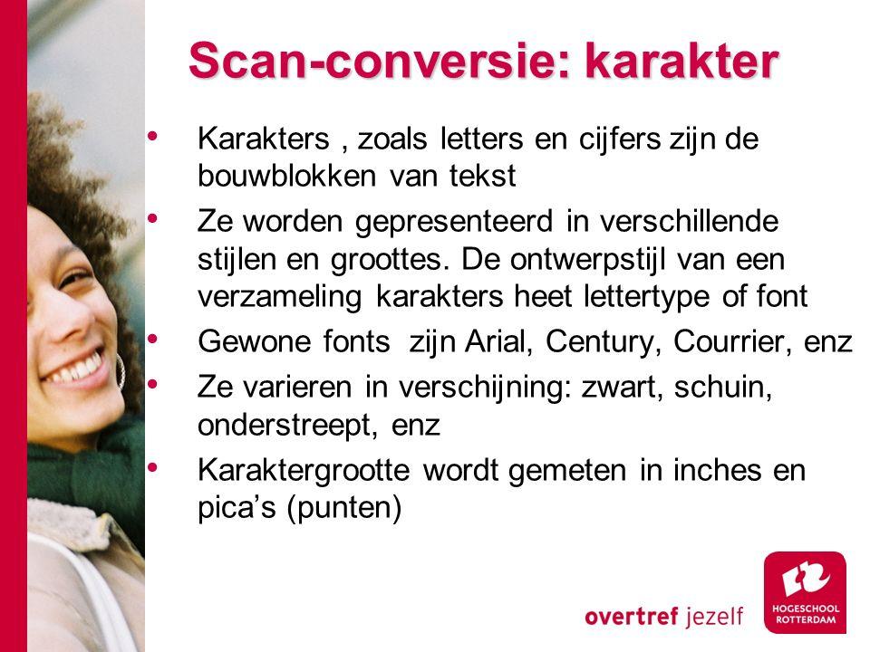 Scan-conversie: karakter Karakters, zoals letters en cijfers zijn de bouwblokken van tekst Ze worden gepresenteerd in verschillende stijlen en groottes.