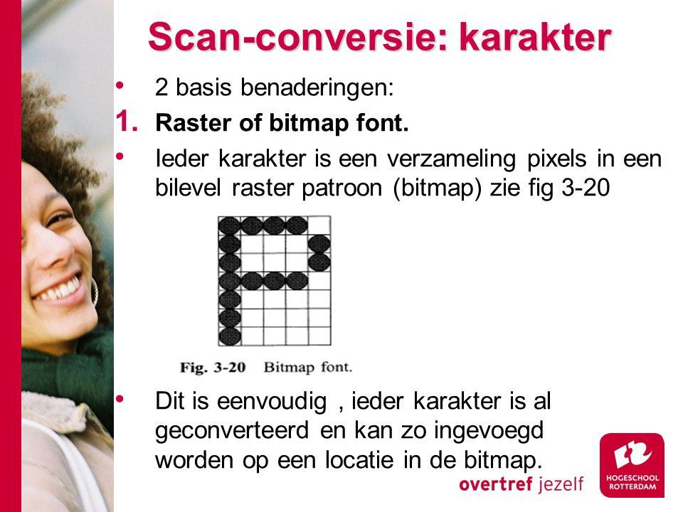Scan-conversie: karakter 2 basis benaderingen: 1. Raster of bitmap font.
