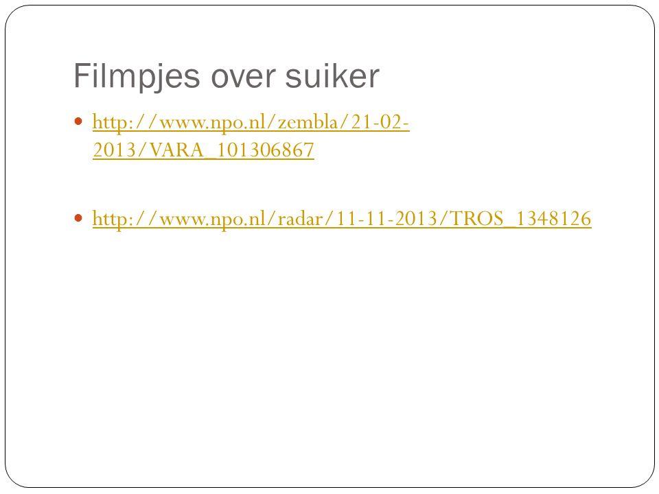 Filmpjes over suiker http://www.npo.nl/zembla/21-02- 2013/VARA_101306867 http://www.npo.nl/zembla/21-02- 2013/VARA_101306867 http://www.npo.nl/radar/1