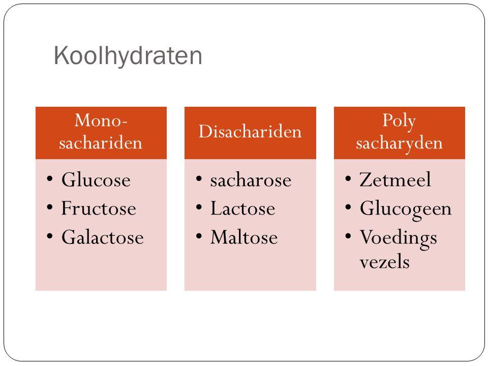 Koolhydraten Mono- sachariden Glucose Fructose Galactose Disachariden sacharose Lactose Maltose Poly sacharyden Zetmeel Glucogeen Voedings vezels