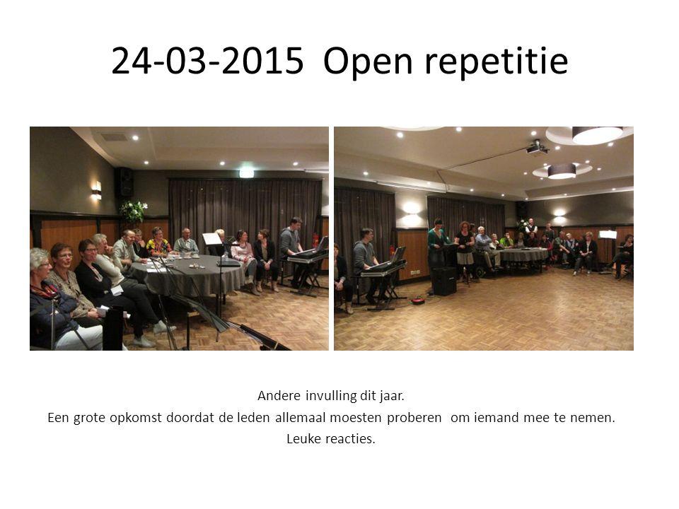 24-03-2015 Open repetitie Andere invulling dit jaar.