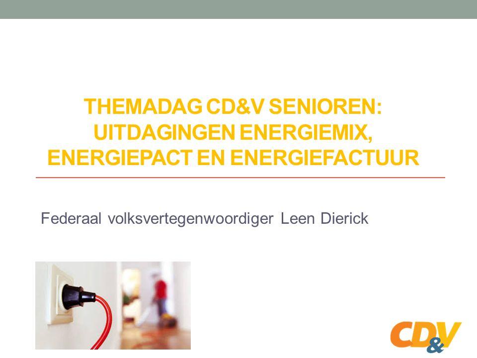 THEMADAG CD&V SENIOREN: UITDAGINGEN ENERGIEMIX, ENERGIEPACT EN ENERGIEFACTUUR Federaal volksvertegenwoordiger Leen Dierick