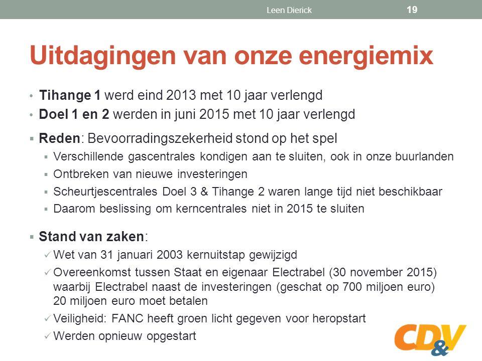 Uitdagingen van onze energiemix Tihange 1 werd eind 2013 met 10 jaar verlengd Doel 1 en 2 werden in juni 2015 met 10 jaar verlengd  Reden: Bevoorradingszekerheid stond op het spel  Verschillende gascentrales kondigen aan te sluiten, ook in onze buurlanden  Ontbreken van nieuwe investeringen  Scheurtjescentrales Doel 3 & Tihange 2 waren lange tijd niet beschikbaar  Daarom beslissing om kerncentrales niet in 2015 te sluiten  Stand van zaken: Wet van 31 januari 2003 kernuitstap gewijzigd Overeenkomst tussen Staat en eigenaar Electrabel (30 november 2015) waarbij Electrabel naast de investeringen (geschat op 700 miljoen euro) 20 miljoen euro moet betalen Veiligheid: FANC heeft groen licht gegeven voor heropstart Werden opnieuw opgestart Leen Dierick 19
