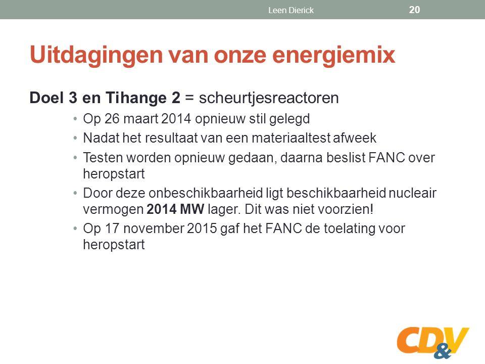 Uitdagingen van onze energiemix Doel 3 en Tihange 2 = scheurtjesreactoren Op 26 maart 2014 opnieuw stil gelegd Nadat het resultaat van een materiaaltest afweek Testen worden opnieuw gedaan, daarna beslist FANC over heropstart Door deze onbeschikbaarheid ligt beschikbaarheid nucleair vermogen 2014 MW lager.