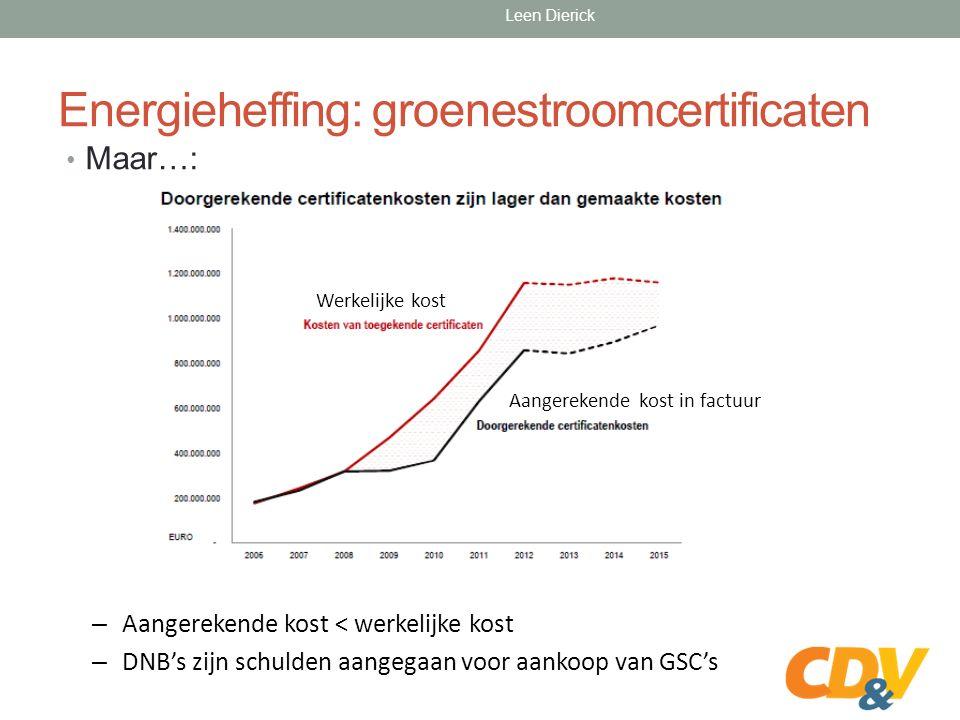 Energieheffing: groenestroomcertificaten Maar…: – Aangerekende kost < werkelijke kost – DNB's zijn schulden aangegaan voor aankoop van GSC's Werkelijke kost Aangerekende kost in factuur Leen Dierick