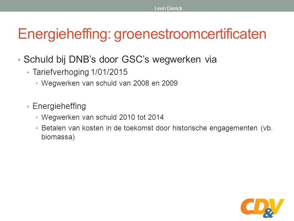 Energieheffing: groenestroomcertificaten Schuld bij DNB's door GSC's wegwerken via Tariefverhoging 1/01/2015 Wegwerken van schuld van 2008 en 2009 Energieheffing Wegwerken van schuld 2010 tot 2014 Betalen van kosten in de toekomst door historische engagementen (vb.
