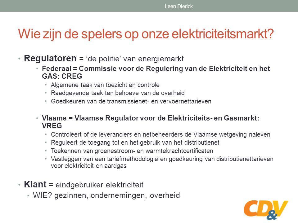 Wie zijn de spelers op onze elektriciteitsmarkt? Bron: FEBEG Leen Dierick