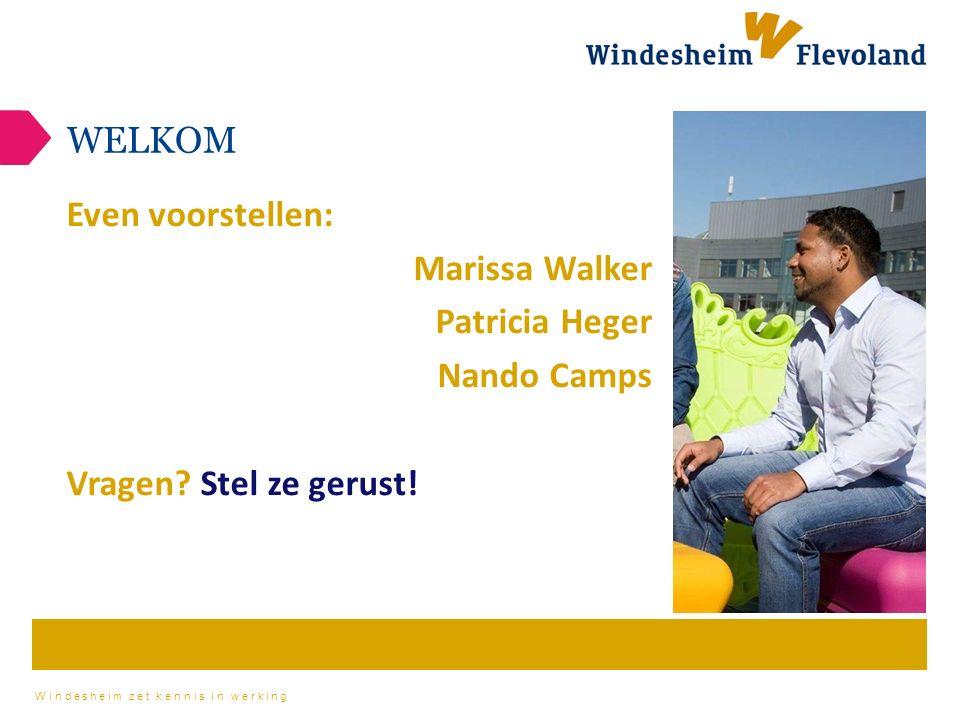 Windesheim zet kennis in werking WELKOM Even voorstellen: Marissa Walker Patricia Heger Nando Camps Vragen.